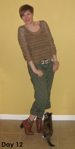 gold sweater and cargo pants