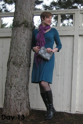 blue dress and black boots
