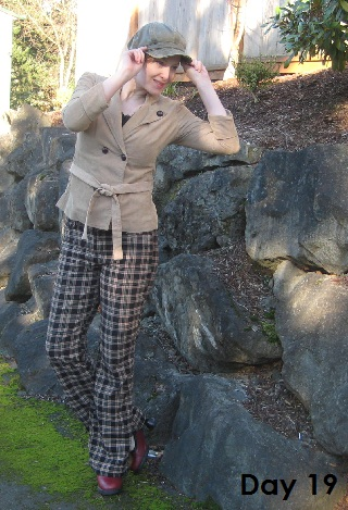 cordoroy blazer and plaid pants