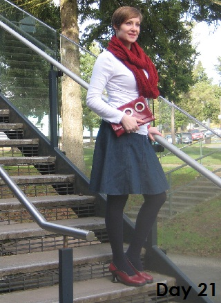 white top and denim skirt