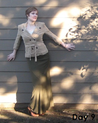 tan blazer and olive skirt