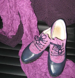 shoes, scarf and sweater in shades of purple
