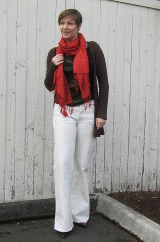 scarf and jeans