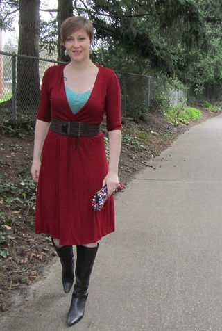 red bamboo dress