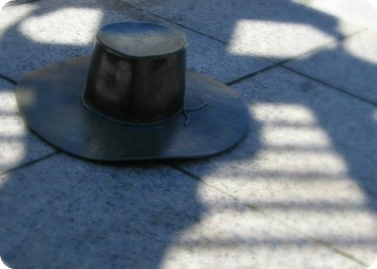 metal hat sculpture