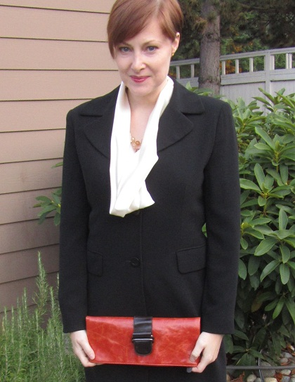 Tahari jacket and Shiraleah clutch