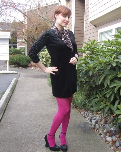 black velvet and pink tights