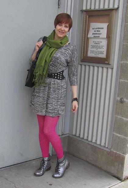 f016741a3855 Dress: TJ Maxx Belt: Thrifted Tights: Target Purse: Crystalyn Kae Boots:  Lulu's Cuff: H&M Earrings: DIY Scarf: NYC street merchant