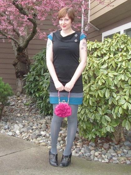 pink bag color blocked dress