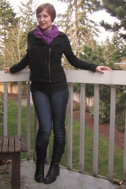 Dress Up Dress Down: Skinny Jeans and Purple Scarf | jeanofalltrades