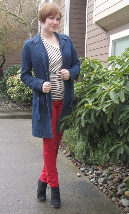 red jeans with a blue coat