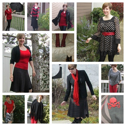 red and black collage