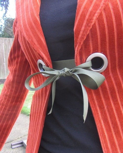 grommets and ribbon