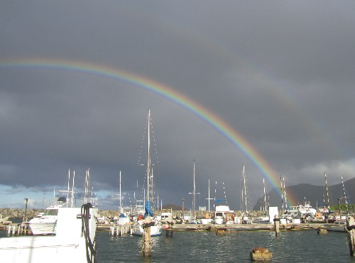 rainbow at harbor