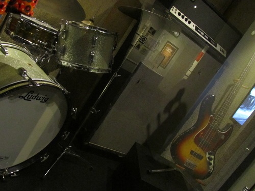 drums, amp, and bass