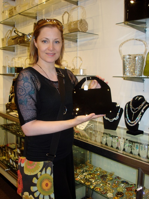 black lucite purse