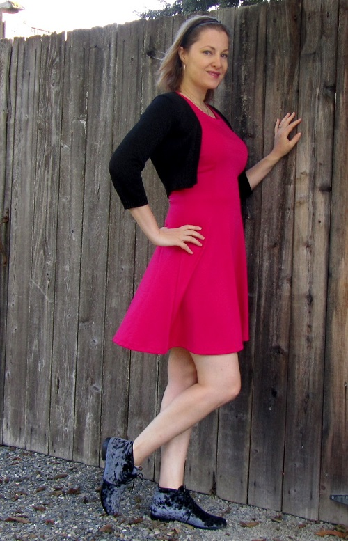 dress with velvet shoes