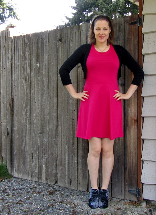 Bright pink skater dress jeanofalltrades for What to wear over a sleeveless dress to a wedding