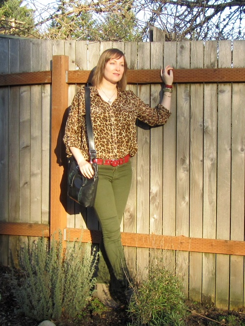 leopard top with red belt
