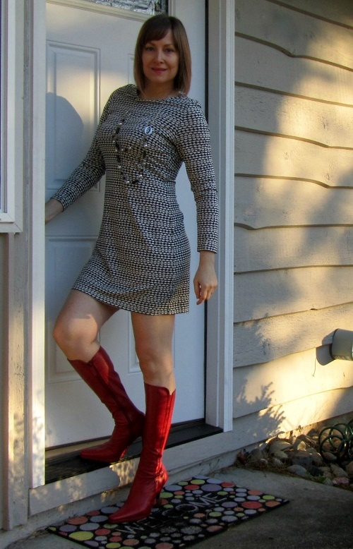 graphic dress and tall boots