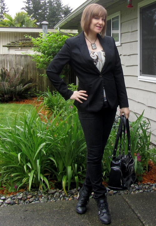 blazer and black pants
