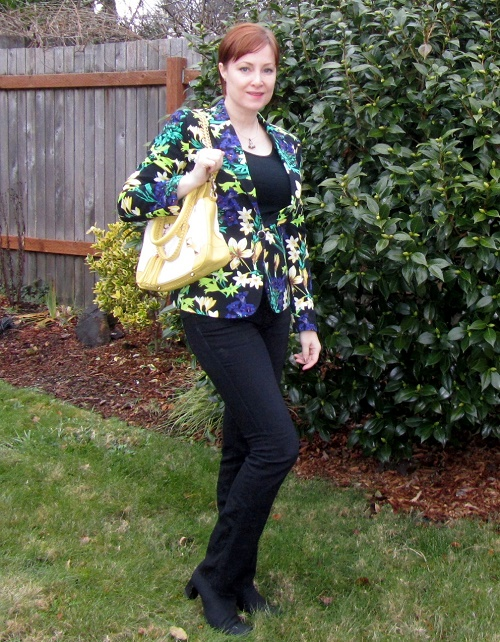 floral blazer and jeans