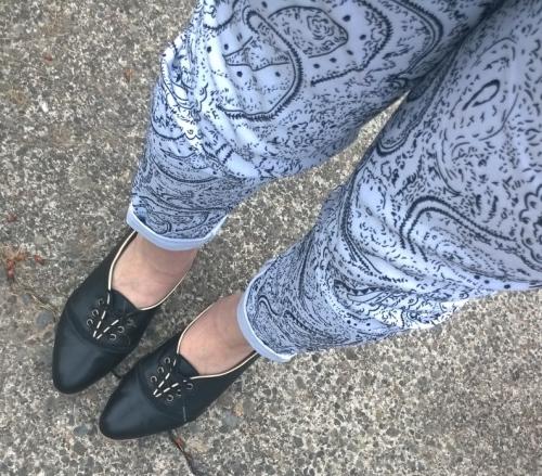 paisley pants and Nicora Johns shoes