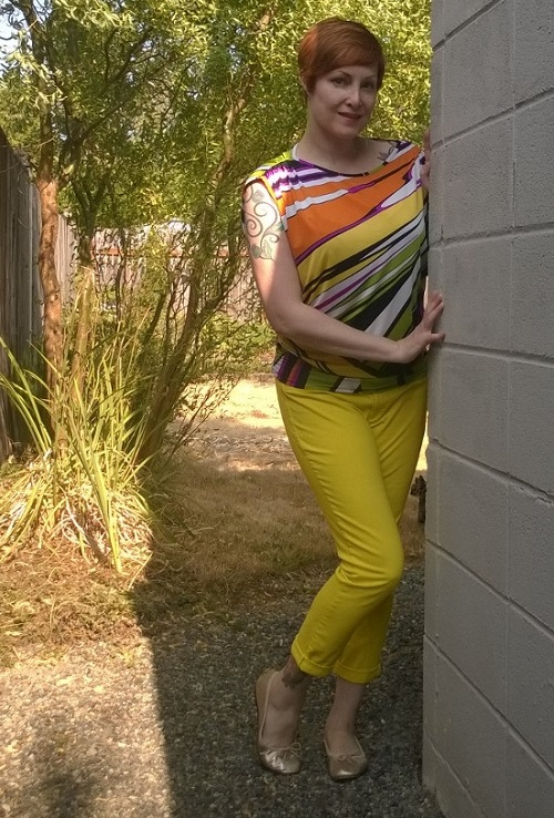 yellow pants and colorful top